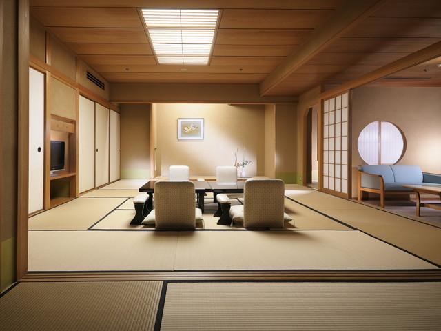【臨川閣 和室(一例)】12.5畳+次の間+バルコニー・室内には高野槙の温泉風呂付の贅沢なお部屋
